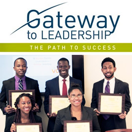 "2014 Gateway to Leadership Case Study Winners Team Principal Back row (L to R) – Tochukwa ""Joshua"" Nwozor, Lawer Angmor-Teye, Sanford Booth, II Front row (L to R) – Aleesa Carrington, Terae Sweeting"